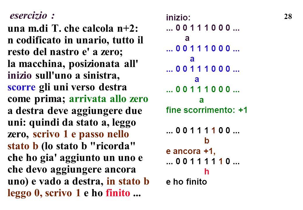 una m.di T. che calcola n+2: n codificato in unario, tutto il
