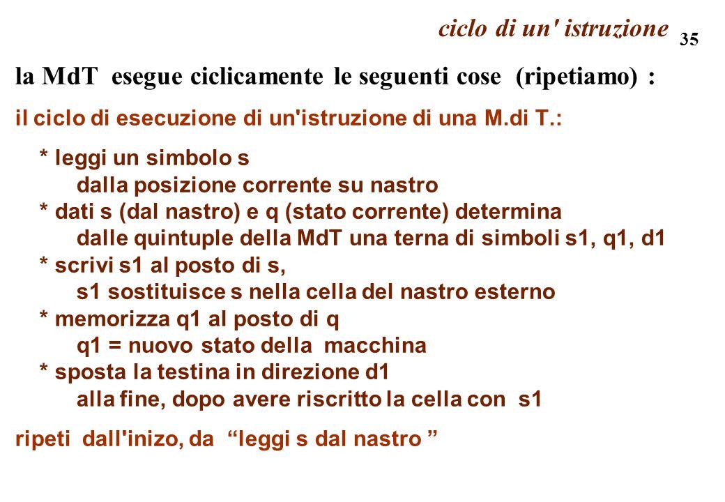 la MdT esegue ciclicamente le seguenti cose (ripetiamo) :