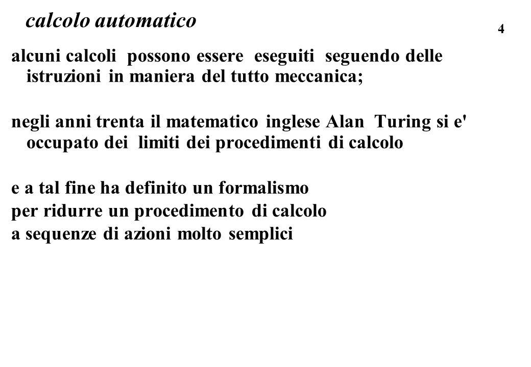 calcolo automatico alcuni calcoli possono essere eseguiti seguendo delle istruzioni in maniera del tutto meccanica;