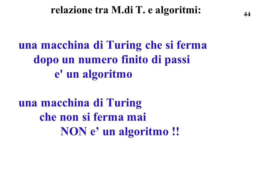 relazione tra M.di T. e algoritmi: