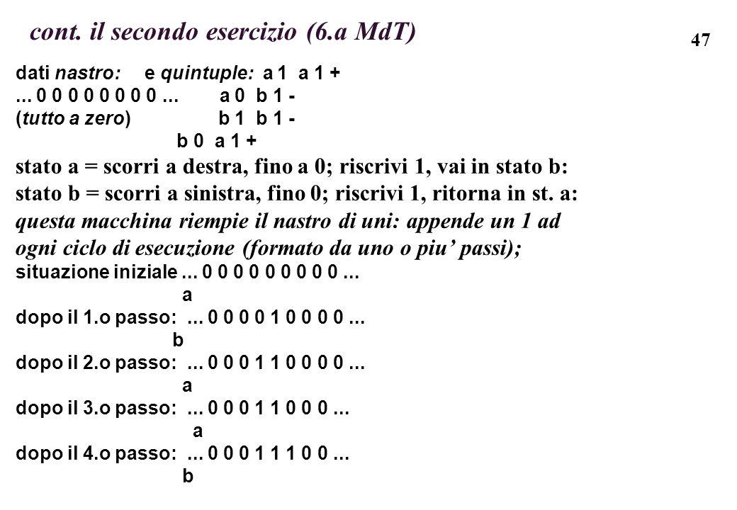 cont. il secondo esercizio (6.a MdT)