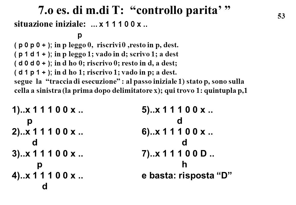 7.o es. di m.di T: controllo parita'