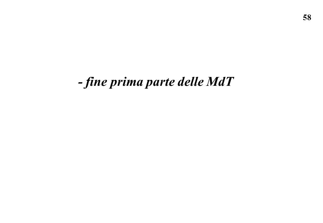 - fine prima parte delle MdT