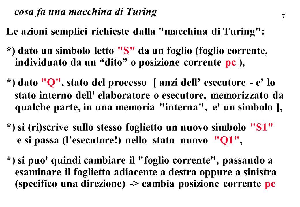 cosa fa una macchina di Turing