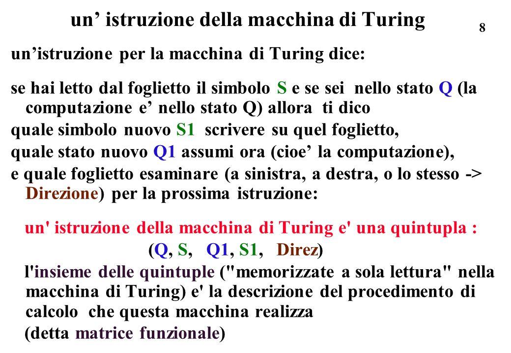 un' istruzione della macchina di Turing
