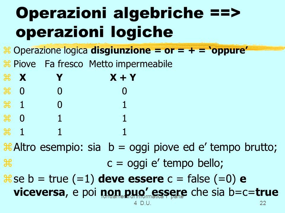 Operazioni algebriche ==> operazioni logiche