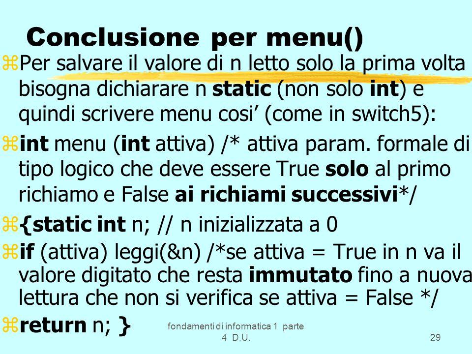 Conclusione per menu()