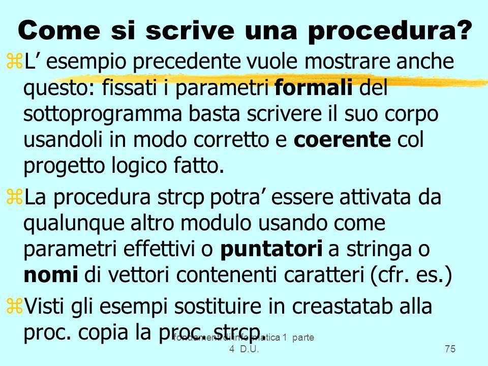 Come si scrive una procedura