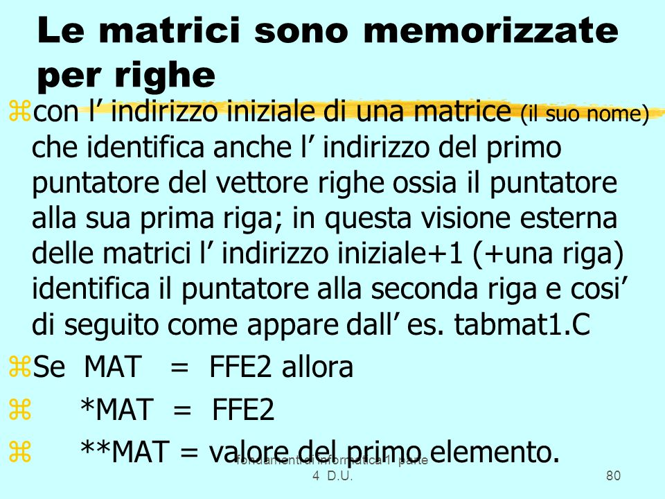 Le matrici sono memorizzate per righe