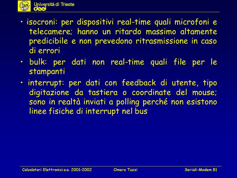 • bulk: per dati non real-time quali file per le stampanti