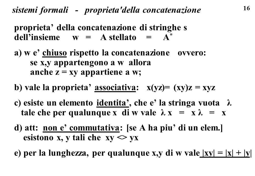sistemi formali - proprieta della concatenazione
