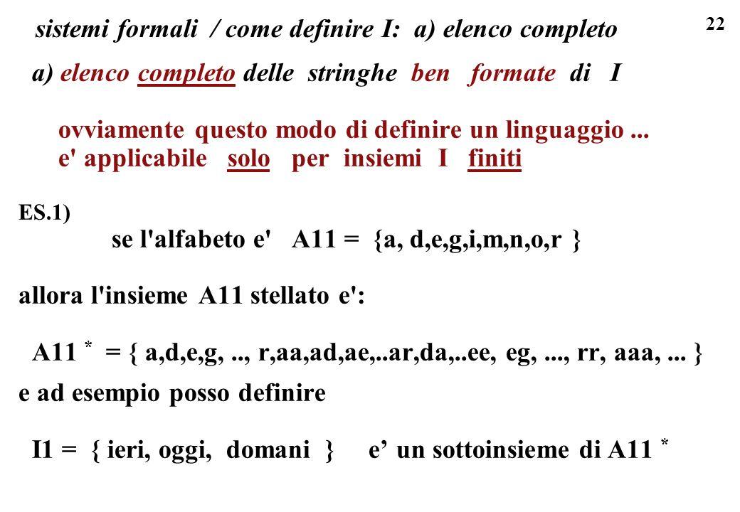 sistemi formali / come definire I: a) elenco completo