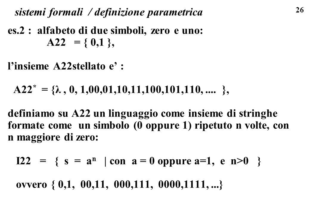 sistemi formali / definizione parametrica