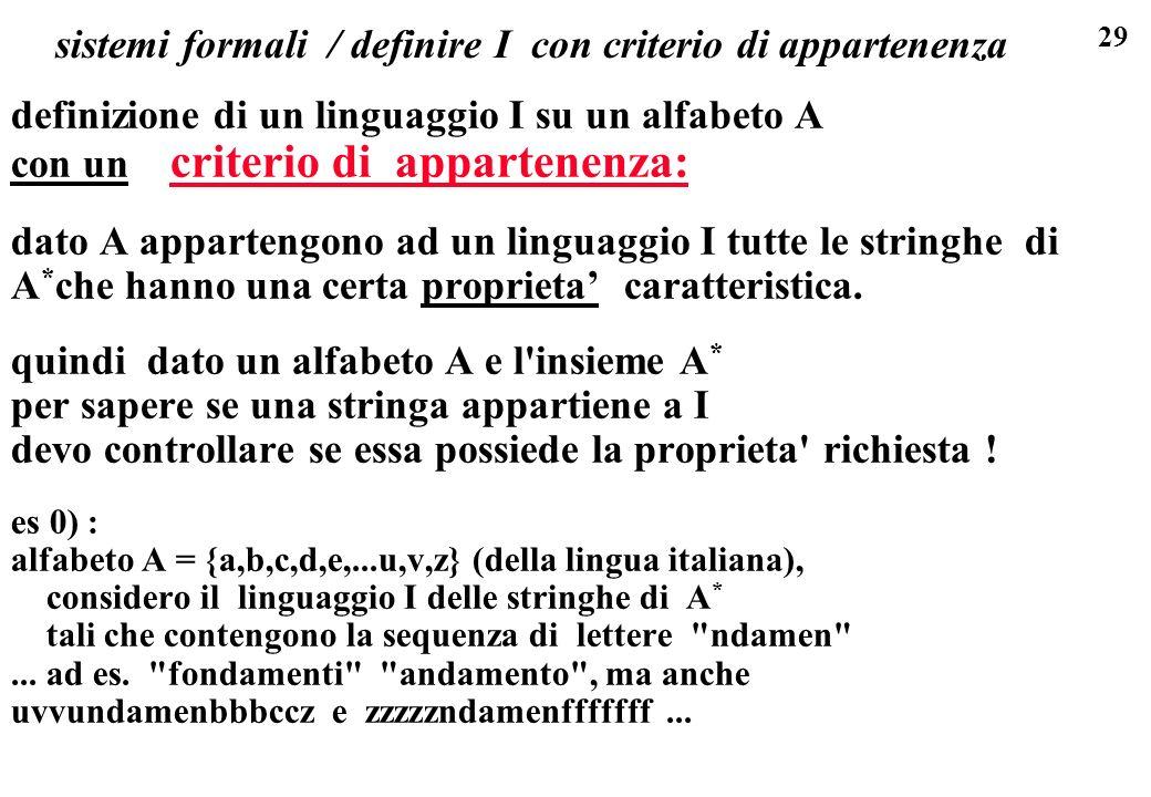 sistemi formali / definire I con criterio di appartenenza
