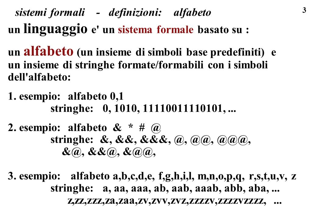 sistemi formali - definizioni: alfabeto