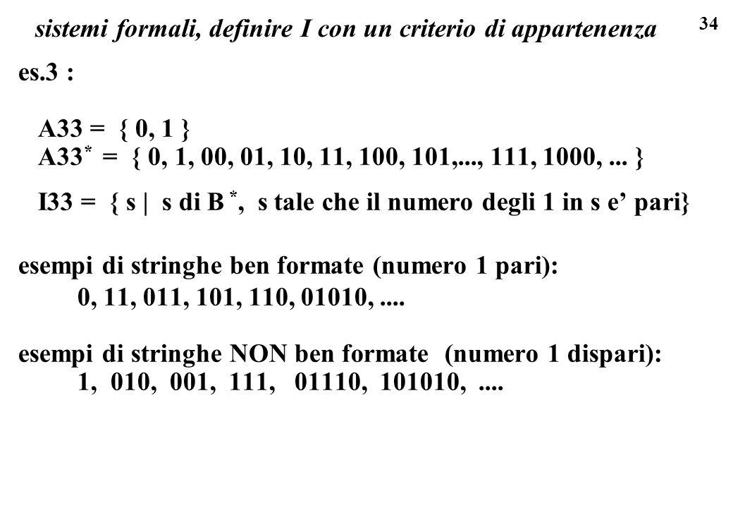 sistemi formali, definire I con un criterio di appartenenza