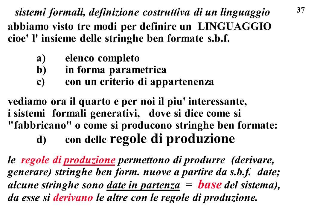 sistemi formali, definizione costruttiva di un linguaggio