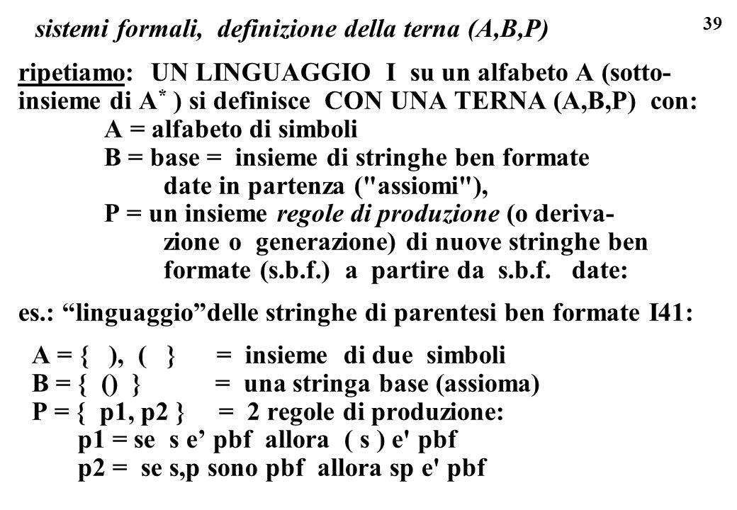 sistemi formali, definizione della terna (A,B,P)