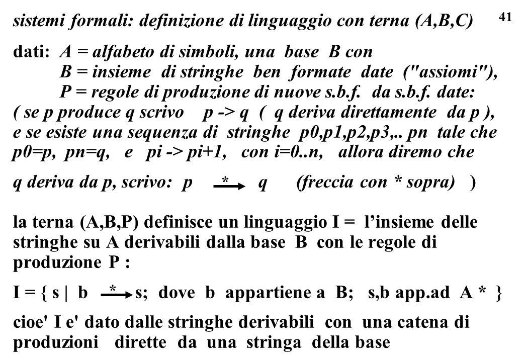 sistemi formali: definizione di linguaggio con terna (A,B,C)