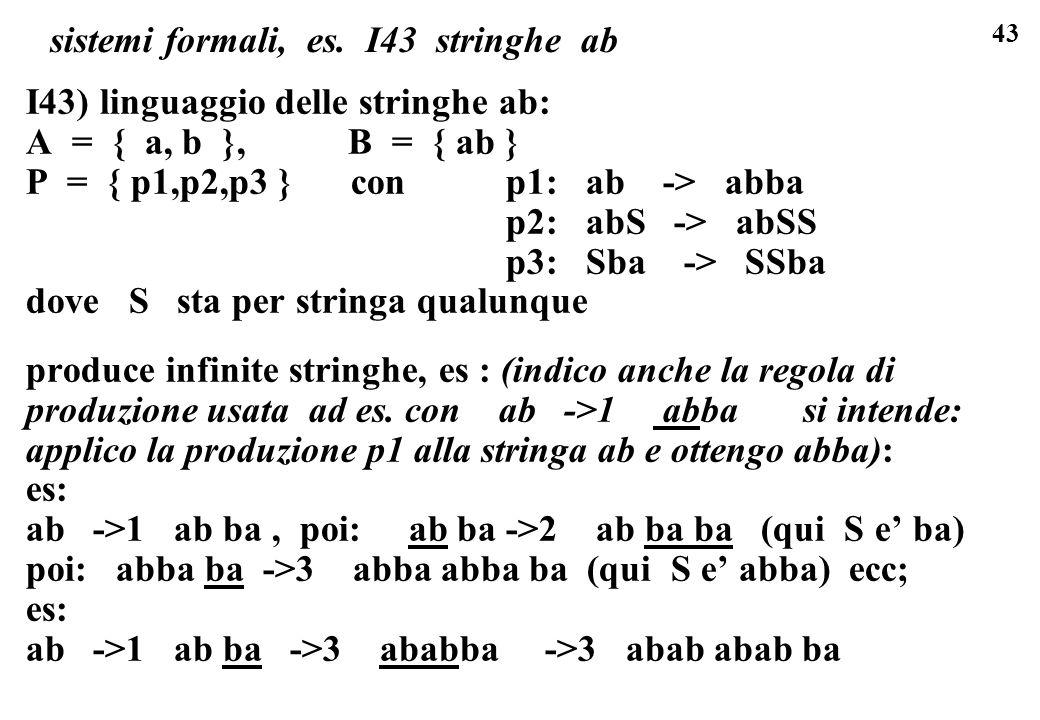 sistemi formali, es. I43 stringhe ab