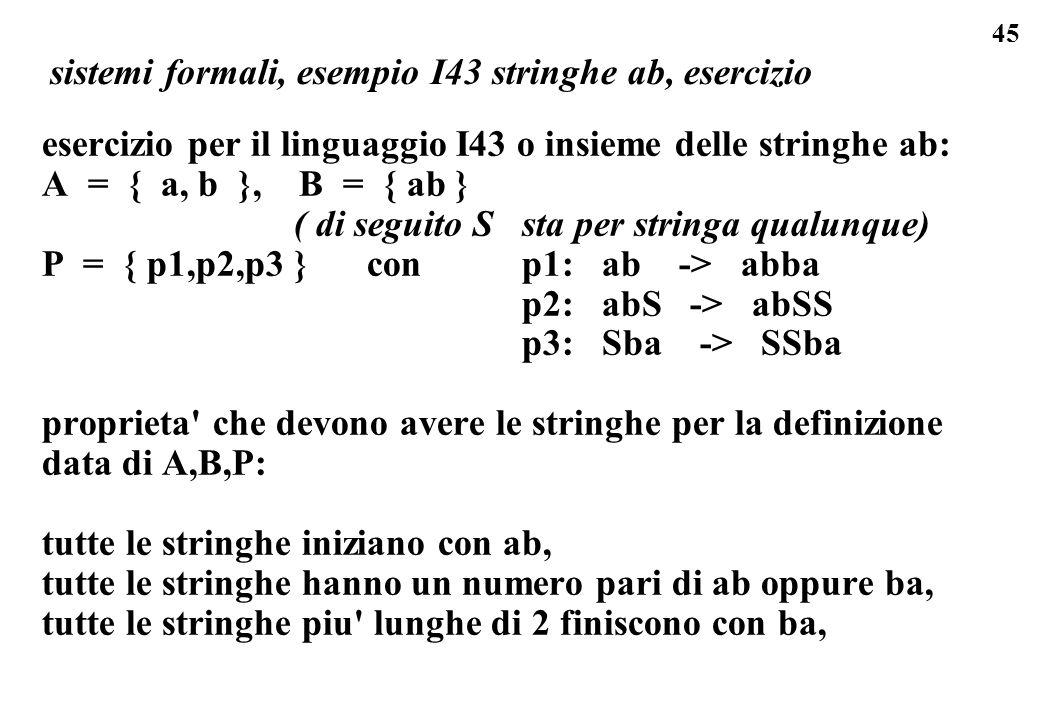 sistemi formali, esempio I43 stringhe ab, esercizio