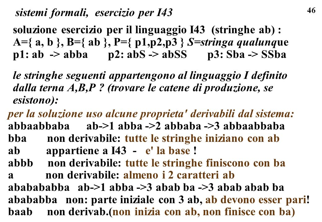 sistemi formali, esercizio per I43