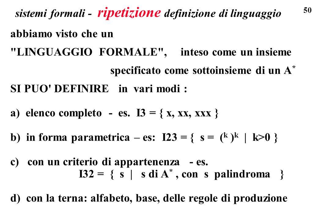 sistemi formali - ripetizione definizione di linguaggio