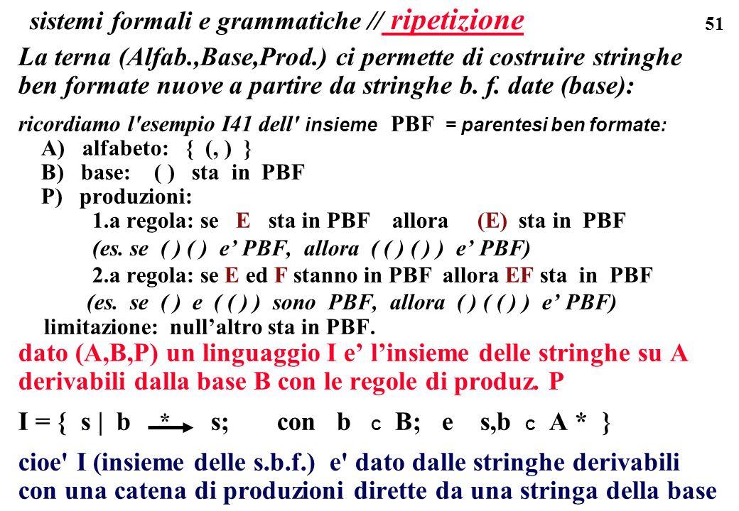 sistemi formali e grammatiche // ripetizione