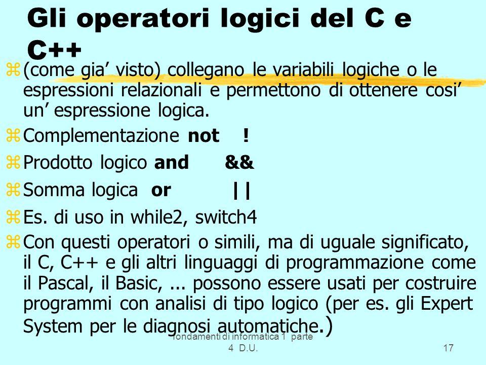Gli operatori logici del C e C++