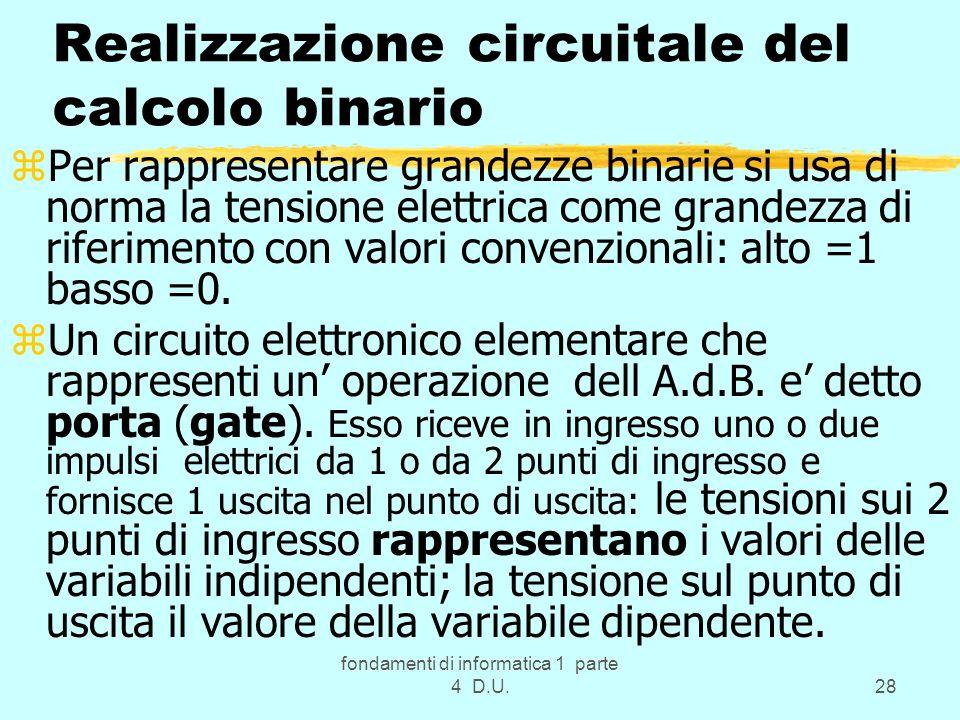 Realizzazione circuitale del calcolo binario