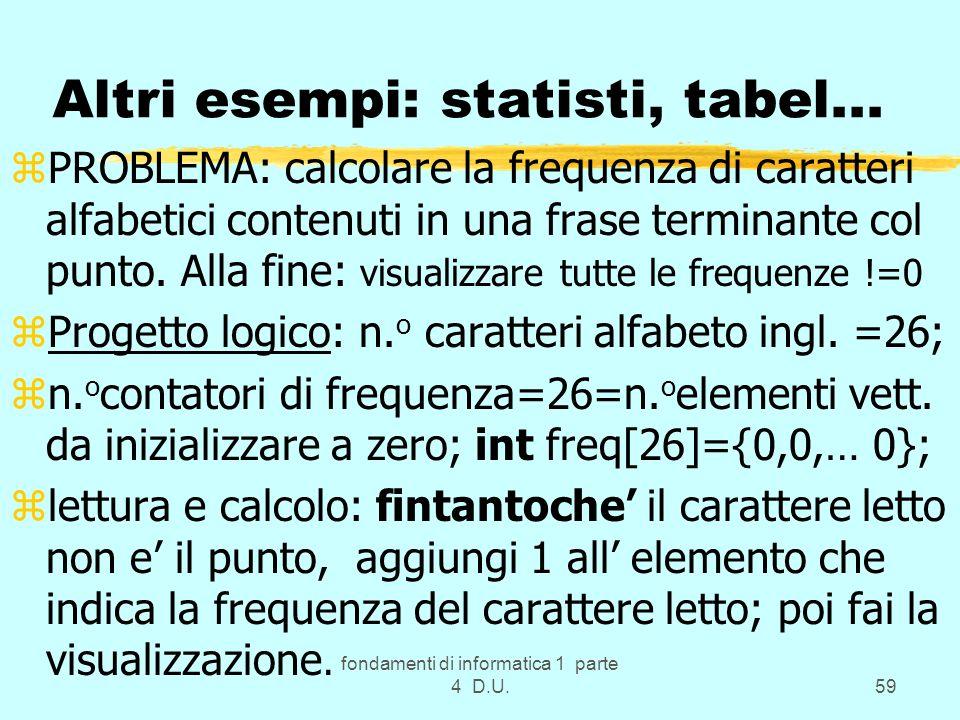 Altri esempi: statisti, tabel...