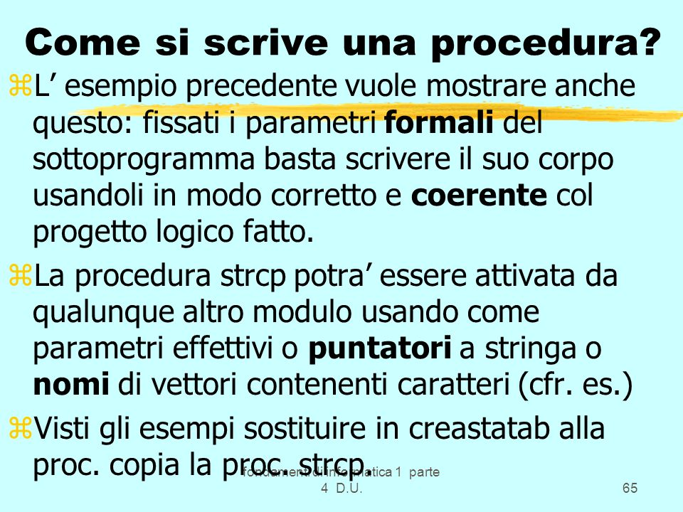 Come si scrive una procedura