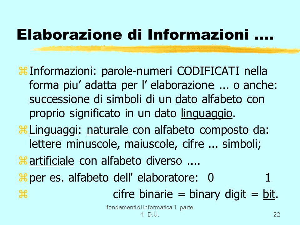 Elaborazione di Informazioni ….