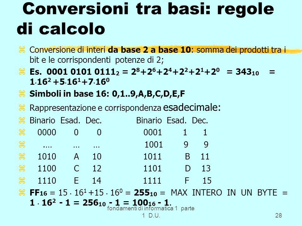 Conversioni tra basi: regole di calcolo