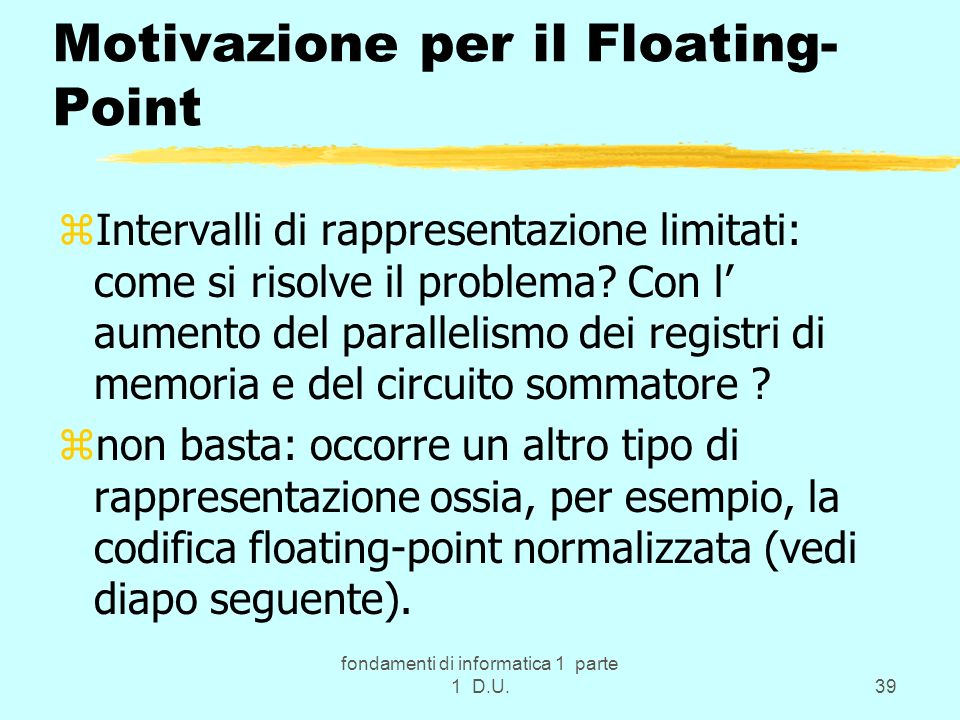 Motivazione per il Floating-Point