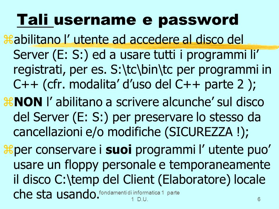 Tali username e password