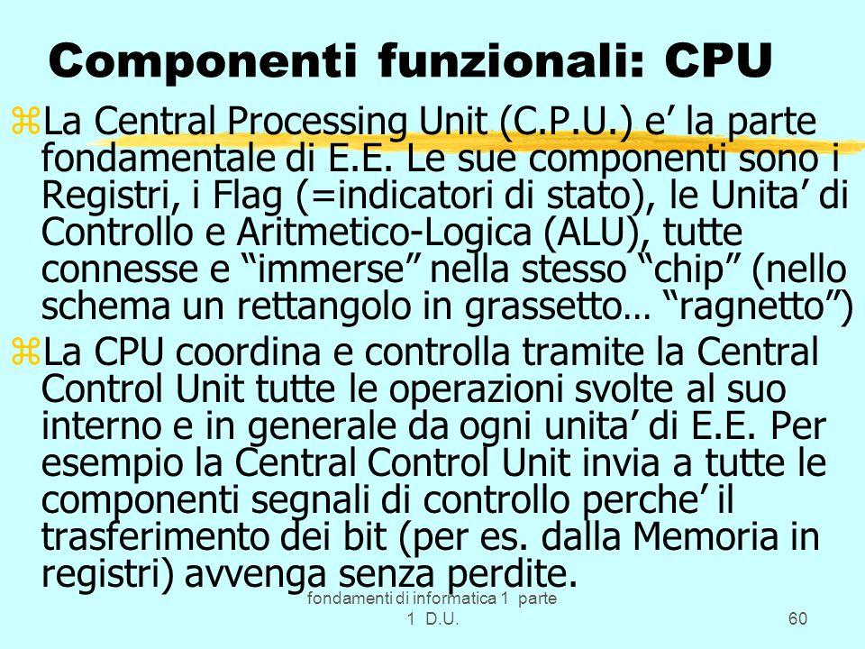 Componenti funzionali: CPU