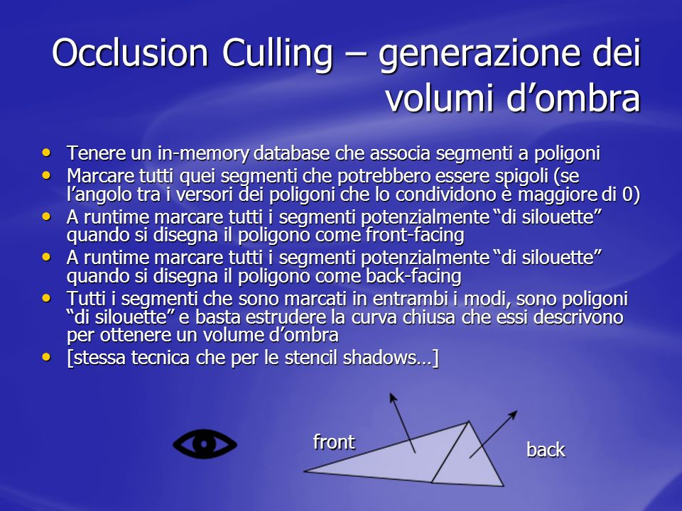 Occlusion Culling – generazione dei volumi d'ombra