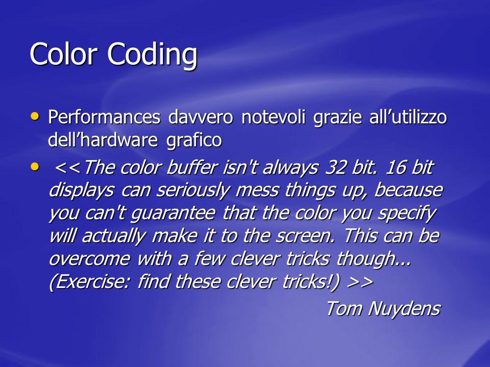 Color Coding Performances davvero notevoli grazie all'utilizzo dell'hardware grafico.