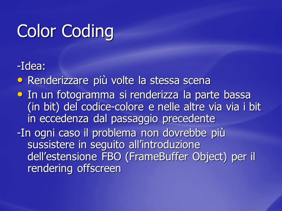 Color Coding -Idea: Renderizzare più volte la stessa scena