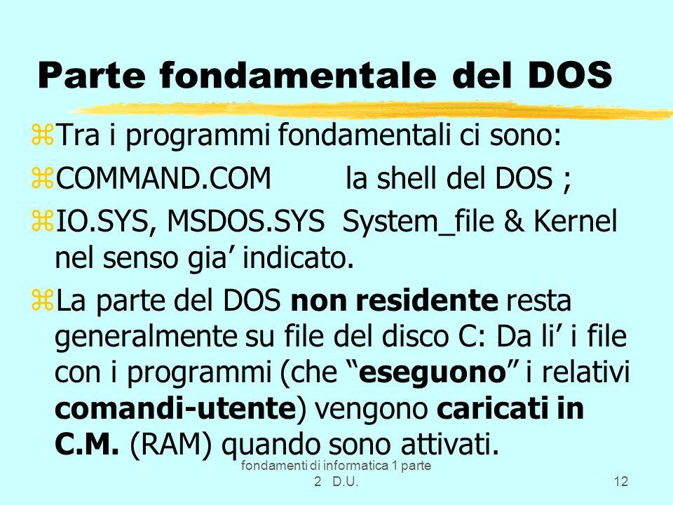 Parte fondamentale del DOS