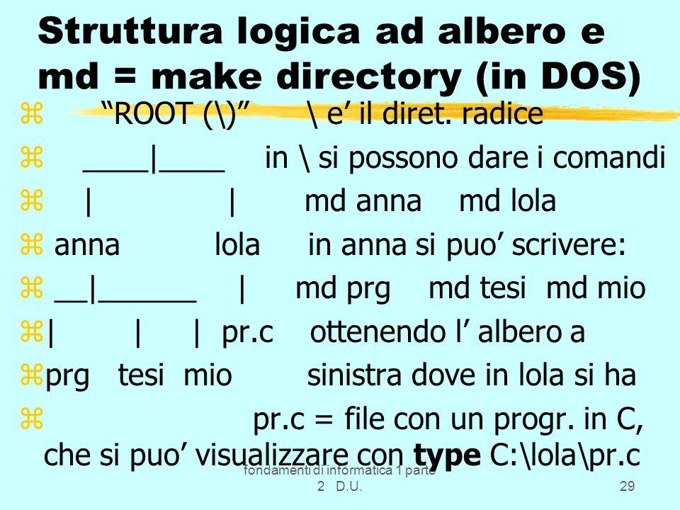Struttura logica ad albero e md = make directory (in DOS)