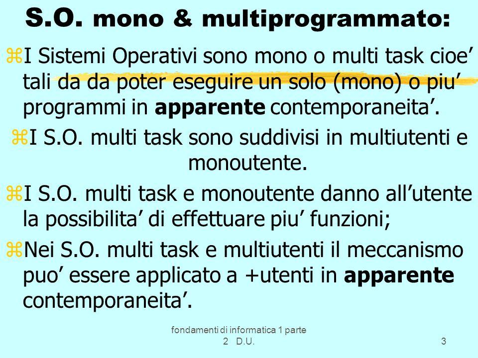 S.O. mono & multiprogrammato: