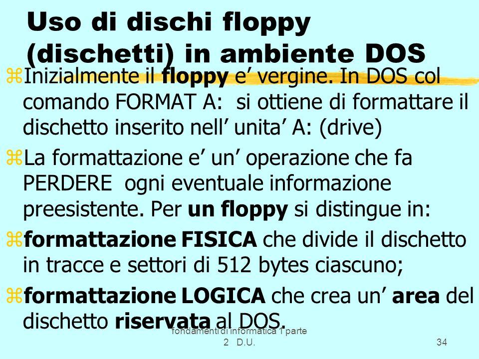 Uso di dischi floppy (dischetti) in ambiente DOS