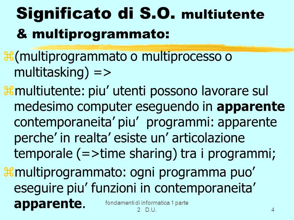Significato di S.O. multiutente & multiprogrammato: