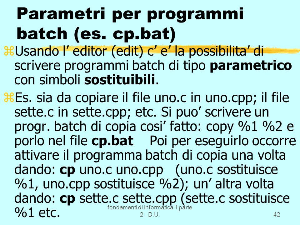 Parametri per programmi batch (es. cp.bat)