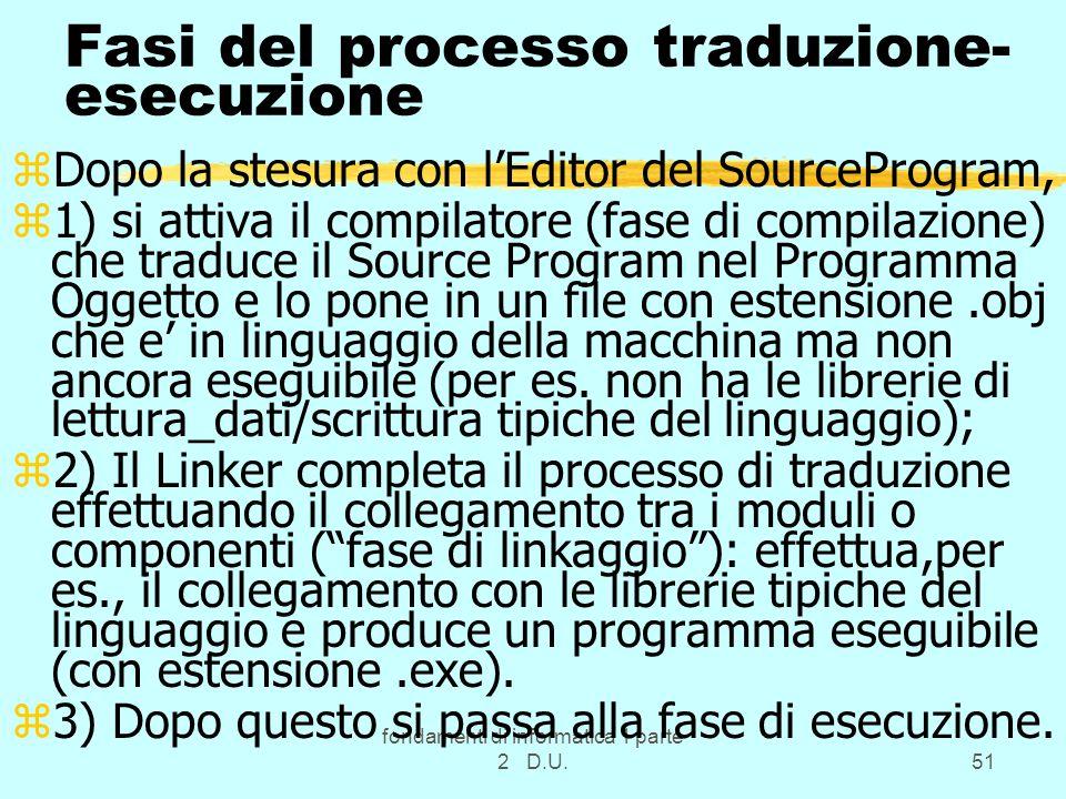 Fasi del processo traduzione-esecuzione
