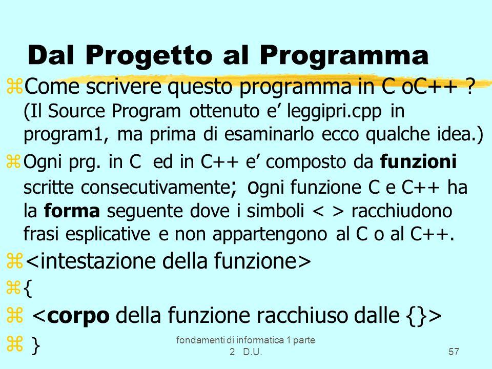 Dal Progetto al Programma