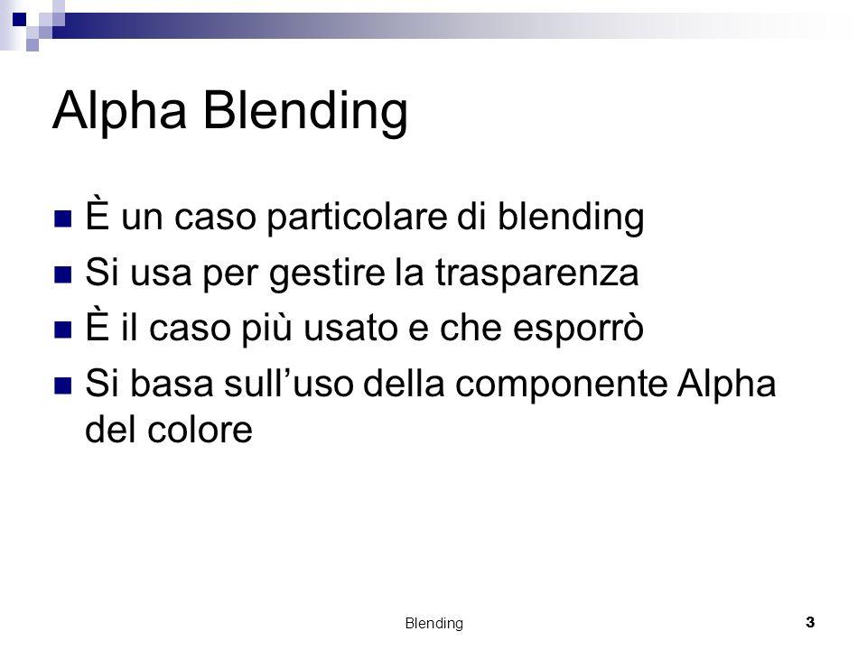 Alpha Blending È un caso particolare di blending