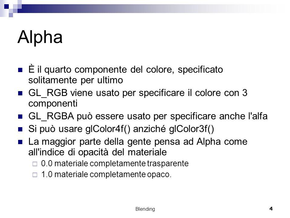 Alpha È il quarto componente del colore, specificato solitamente per ultimo. GL_RGB viene usato per specificare il colore con 3 componenti.